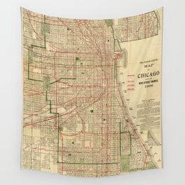 Vintage Map of The Chicago Railroads (1906) Wall Tapestry