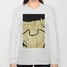 New Orleans Black and Gold Map Long Sleeve T-shirt