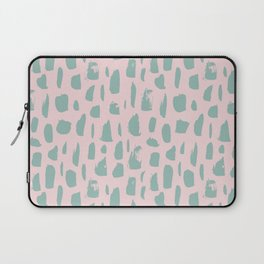 Handdrawn mint drops and dots on pink - Mix & Match with Simplicty of life Laptop Sleeve