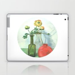 Still life with Buttercup and glass bottles Laptop & iPad Skin