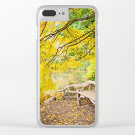 Autumn Bench Meadow Clear iPhone Case
