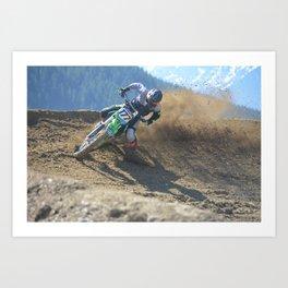 Dishing the Dirt - Motocross Champion Race Art Print
