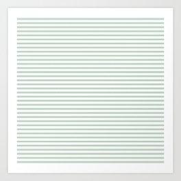 Mattress Ticking Narrow Striped Pattern in Moss Green and White Art Print