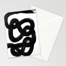 Knots Black & White Minimalist Ink Tribal Mid Century Pattern Dark Painting Pattern Stationery Cards