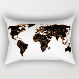 Black wolrd map Rectangular Pillow