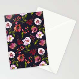 Gentle Scattered Pink and Coral Peonies on Black  Stationery Cards