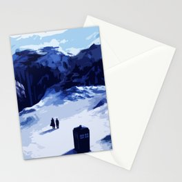 Tardis Art At The Snow Mountain Stationery Cards