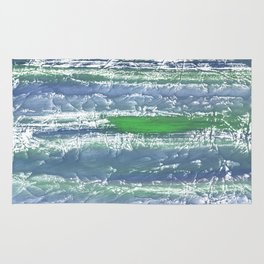 Green Blue clouded wash drawing design Rug