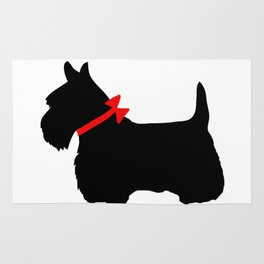 Scottie Dog with Red Bow Rug