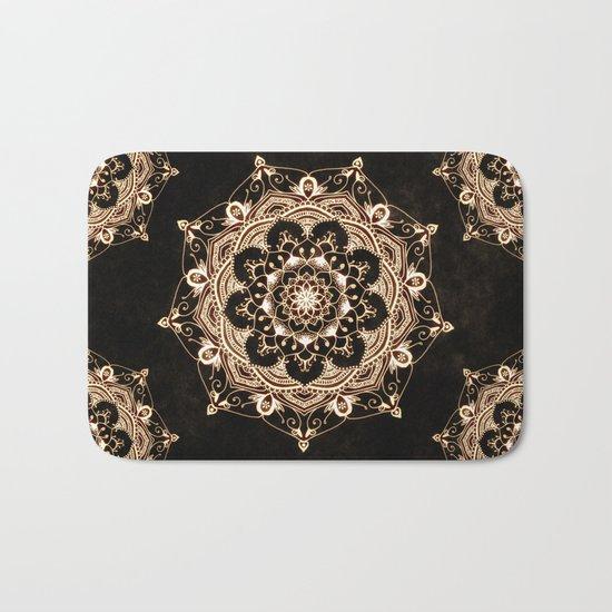 Glowing Spirit Black White Mandala Design Bath Mat