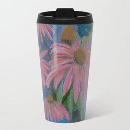 Cone flowers in blue jar Travel Mug
