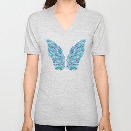 Turquoise Angel Wings Unisex V-Neck
