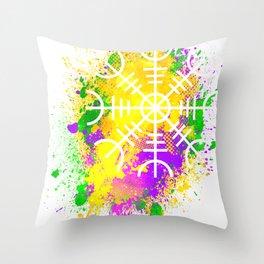 Viking Helm of Awe Mardi Gras Splatter Throw Pillow