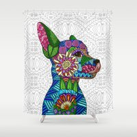 folk Shower Curtains featuring Folk Art Puppy by ArtLovePassion