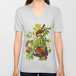 Sparrow Vintage Scientific Bird & Botanical Illustration Unisex V-Neck