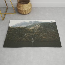 Autumn Waterfall at the Mountain Lake - Landscape Photography Rug