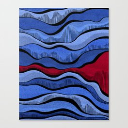 Blue Waves With Interrupting Red Canvas Print
