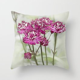 Pink Flowers in the Mist Throw Pillow