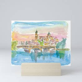Salamanca Spain Cathedral and Tormes Bridge Mini Art Print
