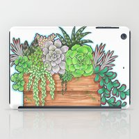 succulents iPad Cases featuring Succulents by Little Lost Garden