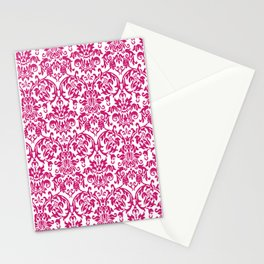 Elegant Damask Pattern (fuchsia) Stationery Cards