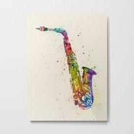 Saxophone Abstract Watercolor Metal Print