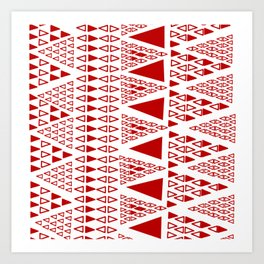 Zig Zag Pattern -  brick red Art Print