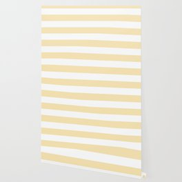 Banana Mania - solid color - white stripes pattern Wallpaper
