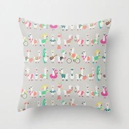 Summer llama Throw Pillow