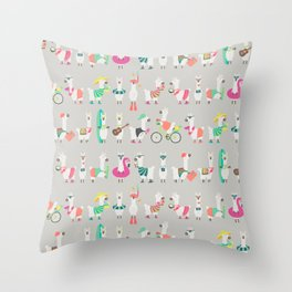Summer llama Throw Pillow