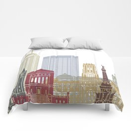 Indianapolis skyline poster Comforters