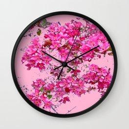 Decorative Pink Crab Apple Blossoms Spring Art Wall Clock