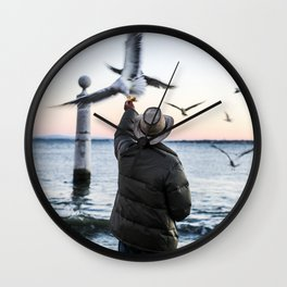 Old Sea Sunset Wall Clock