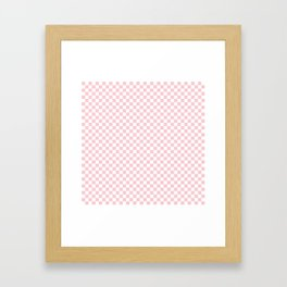 White and Light Millennial Pink Pastel Color Checkerboard Framed Art Print