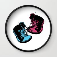 sneakers Wall Clocks featuring Sneakers by Cindys