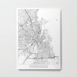 Copenhagen Map White Metal Print