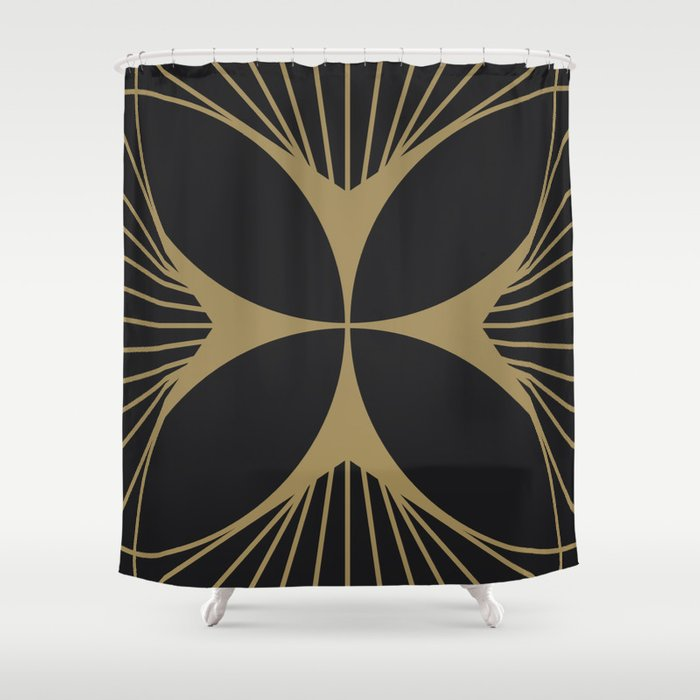 Diamond Series Floral Cross Gold On Charcoal Shower Curtain By Anvilstudiowr