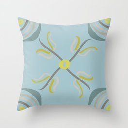 Modern Flowers in Shades of Gray Yellow and Teal Throw Pillow