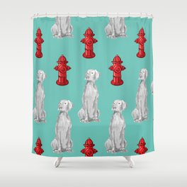 HYDRANTS AND WEIMARANERS Shower Curtain