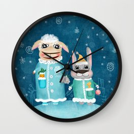 Funny illustration with sheep and rabbit Wall Clock