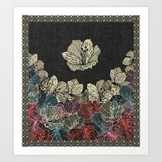 Burlap & Flowers 4 Art Print