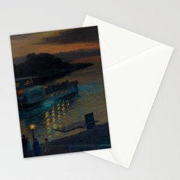 A Nightly River Cruise, Mississippi River by Ernst Max Pietschmann Stationery Cards