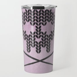 Knitted Skull (Black on Pink) Travel Mug
