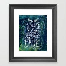 My Home is the Open Sea (Dark Night) Framed Art Print