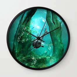 Swimming dolphin Wall Clock