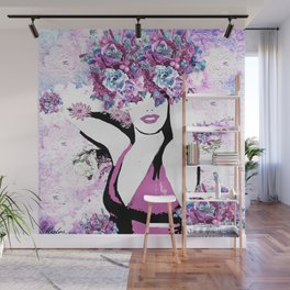 BEAUTIFUL GIRL WITH FLOWERS Wall Mural