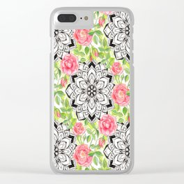 Peach Pink Roses and Mandalas on Lime Green and White Clear iPhone Case