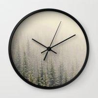 mountain Wall Clocks featuring Mountain Haze by Kurt Rahn