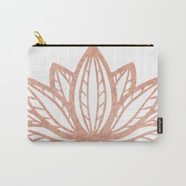 Lotus flower outline tattoo, Rose gold foil boho chic floral design Carry-All Pouch