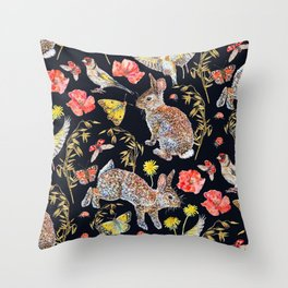 Bunny Meadow Pattern - Dark Throw Pillow